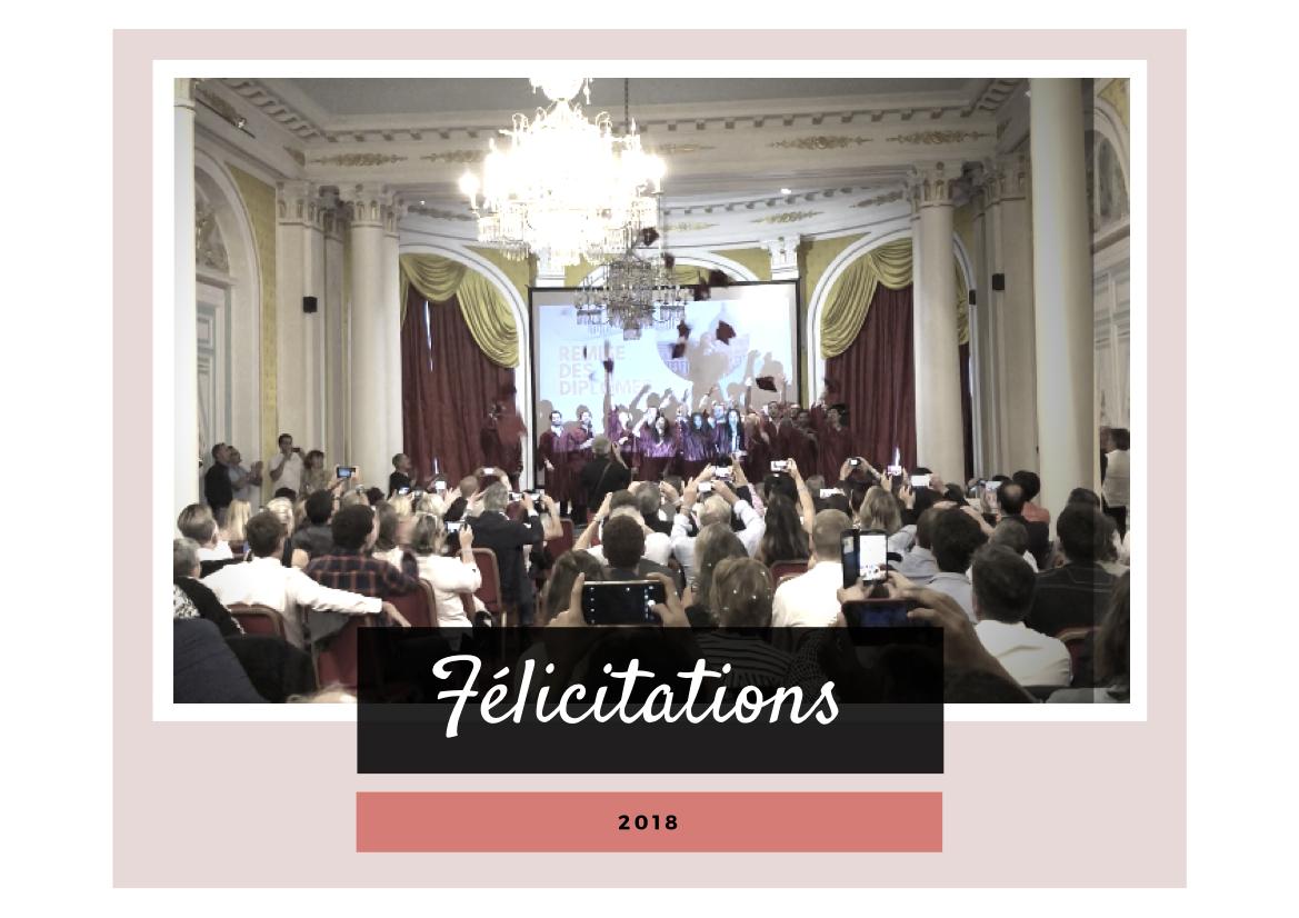 Le 14 octobre 2018 a eu lieu la remise des diplômes pour les promotions 2017/2018 (lien).  Félicitations à eux et nous leur souhaitons une belle réussite professionnelle !